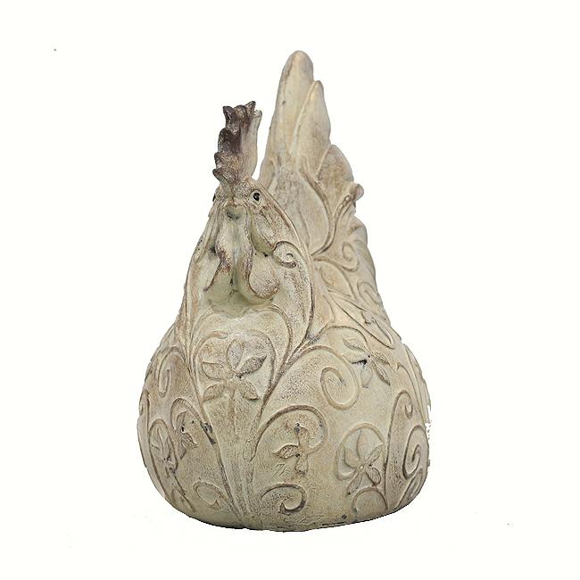 꽃문양 수닭 조각상