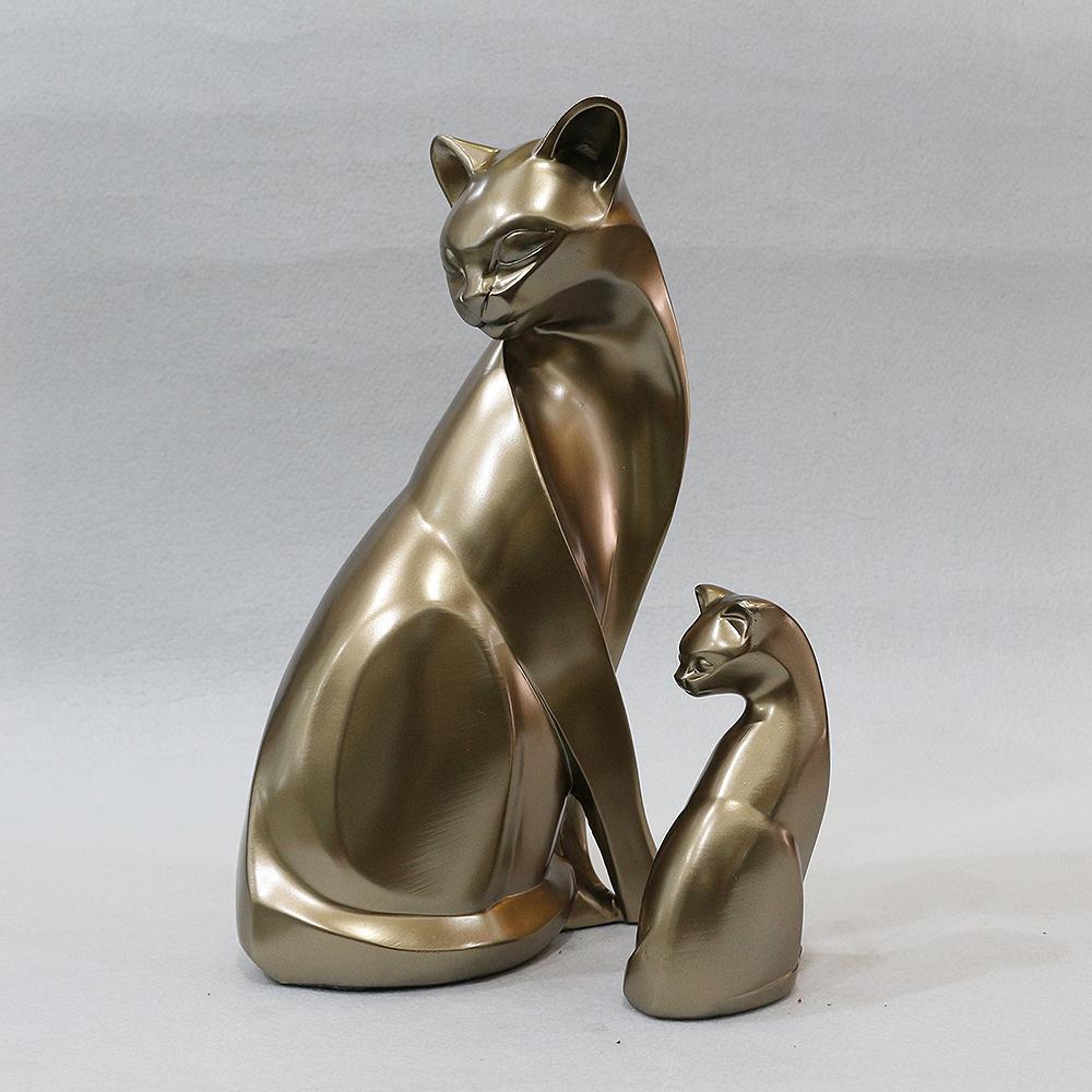 2종 엔틱 고양이 패밀리 모형 조각상 B