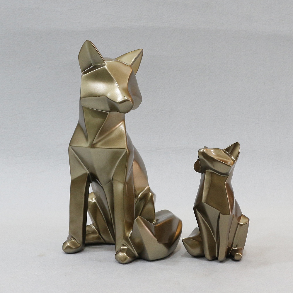 2종 엔틱 여우 패밀리 모형 조각상