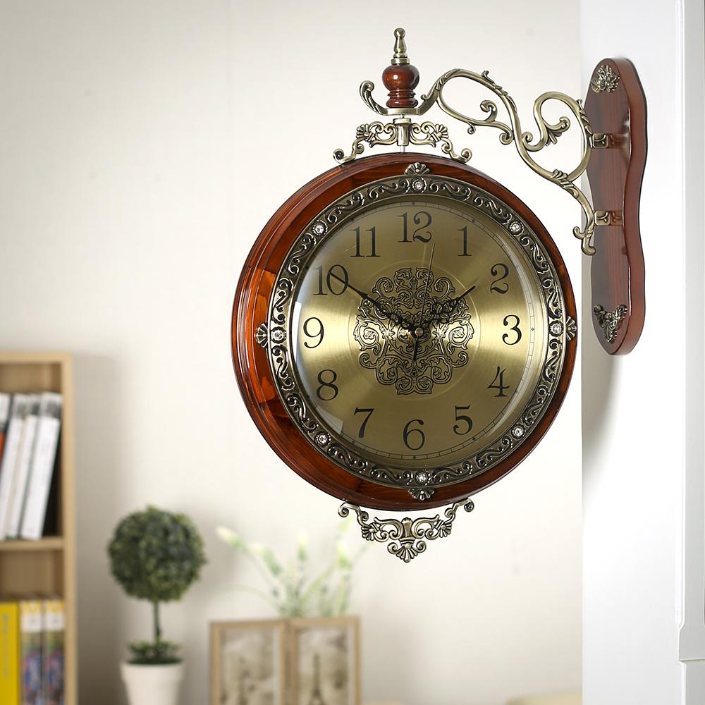 로코코 원목 양면 벽시계/인테리어시계 양면시계